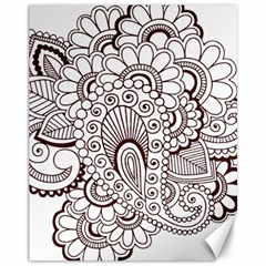 Henna Line Art Clipart Canvas 11  X 14