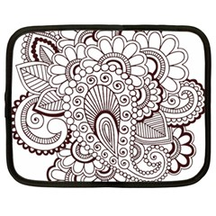 Henna Line Art Clipart Netbook Case (large)