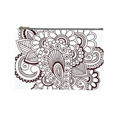 Henna Line Art Clipart Cosmetic Bag (Large)