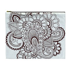Henna Line Art Clipart Cosmetic Bag (xl)