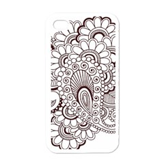 Henna Line Art Clipart Apple Iphone 4 Case (white)