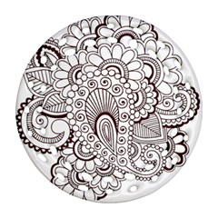 Henna Line Art Clipart Round Filigree Ornament (Two Sides)