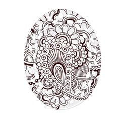 Henna Line Art Clipart Oval Filigree Ornament (Two Sides)
