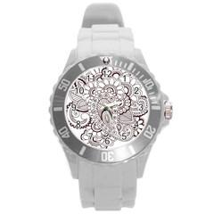 Henna Line Art Clipart Round Plastic Sport Watch (l)