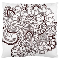 Henna Line Art Clipart Large Cushion Case (two Sides)