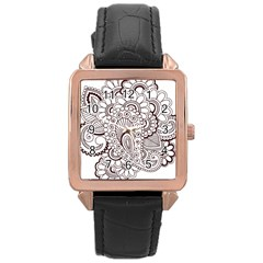 Henna Line Art Clipart Rose Gold Leather Watch