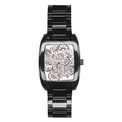 Henna Line Art Clipart Stainless Steel Barrel Watch