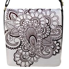 Henna Line Art Clipart Flap Messenger Bag (s)
