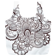 Henna Line Art Clipart Full Print Recycle Bags (l)