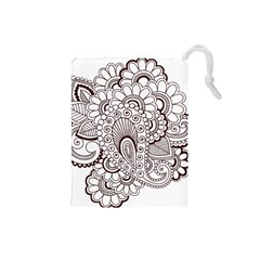 Henna Line Art Clipart Drawstring Pouches (small)