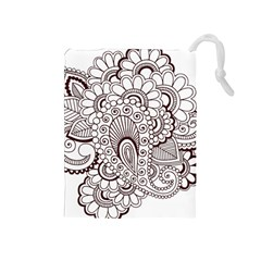 Henna Line Art Clipart Drawstring Pouches (Medium)