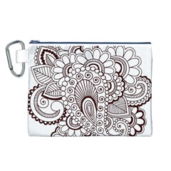 Henna Line Art Clipart Canvas Cosmetic Bag (L)
