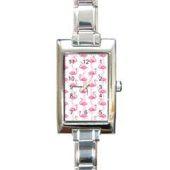 Pink Flamingos Pattern Rectangle Italian Charm Watch