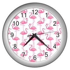 Pink Flamingos Pattern Wall Clocks (silver)