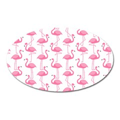 Pink Flamingos Pattern Oval Magnet