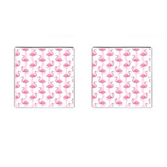 Pink Flamingos Pattern Cufflinks (Square)