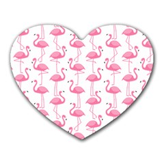 Pink Flamingos Pattern Heart Mousepads