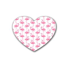 Pink Flamingos Pattern Heart Coaster (4 pack)