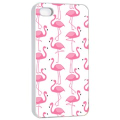 Pink Flamingos Pattern Apple iPhone 4/4s Seamless Case (White)