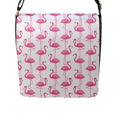 Pink Flamingos Pattern Flap Messenger Bag (L)