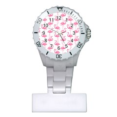 Pink Flamingos Pattern Plastic Nurses Watch