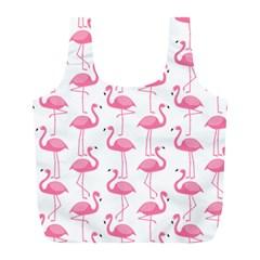 Pink Flamingos Pattern Full Print Recycle Bags (l)