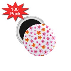 Watercolor Summer Flowers Pattern 1.75  Magnets (100 pack)