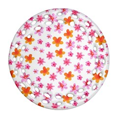 Watercolor Summer Flowers Pattern Ornament (Round Filigree)