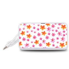 Watercolor Summer Flowers Pattern Portable Speaker (White)
