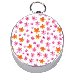 Watercolor Summer Flowers Pattern Silver Compasses