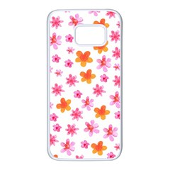 Watercolor Summer Flowers Pattern Samsung Galaxy S7 White Seamless Case