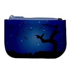 Nightscape Landscape Illustration Large Coin Purse