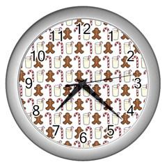 Christmas Trio Pattern Wall Clocks (Silver)