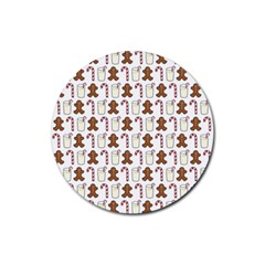 Christmas Trio Pattern Rubber Round Coaster (4 pack)