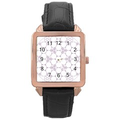 Density Multi Dimensional Gravity Analogy Fractal Circles Rose Gold Leather Watch