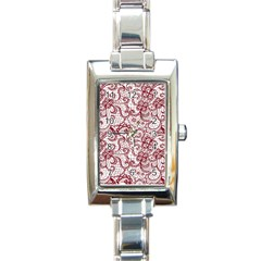 Transparent Lace With Flowers Decoration Rectangle Italian Charm Watch