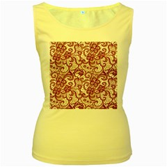 Transparent Lace With Flowers Decoration Women s Yellow Tank Top