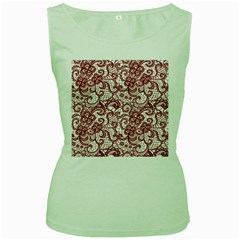 Transparent Lace With Flowers Decoration Women s Green Tank Top