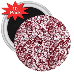 Transparent Lace With Flowers Decoration 3  Magnets (10 Pack)