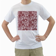 Transparent Lace With Flowers Decoration Men s T-Shirt (White) (Two Sided)