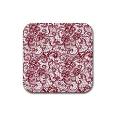 Transparent Lace With Flowers Decoration Rubber Coaster (square)