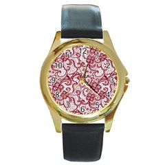 Transparent Lace With Flowers Decoration Round Gold Metal Watch