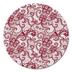 Transparent Lace With Flowers Decoration Magnet 5  (round)