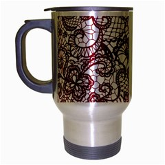 Transparent Lace With Flowers Decoration Travel Mug (Silver Gray)