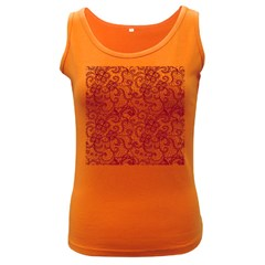 Transparent Lace With Flowers Decoration Women s Dark Tank Top