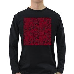 Transparent Lace With Flowers Decoration Long Sleeve Dark T Shirts