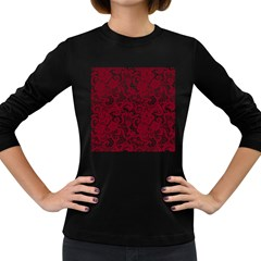 Transparent Lace With Flowers Decoration Women s Long Sleeve Dark T-Shirts