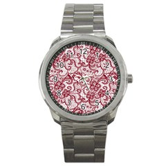Transparent Lace With Flowers Decoration Sport Metal Watch