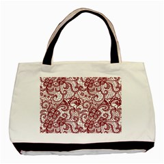 Transparent Lace With Flowers Decoration Basic Tote Bag
