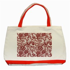 Transparent Lace With Flowers Decoration Classic Tote Bag (red)